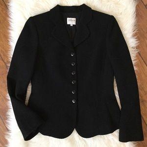 ARMANI Collezioni Black Wool Fitted Blazer